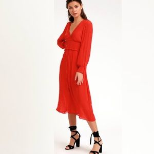 NWT Lulu's Go For It red long sleeve midi dress
